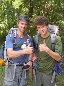 Tom & Daniel finishing Boy Scout World Record 5 day backpacking trek --- 100 miles