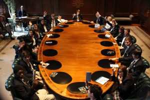 Students conducting meeting in the Board Room of the Federal Reserve Bank of Atlanta